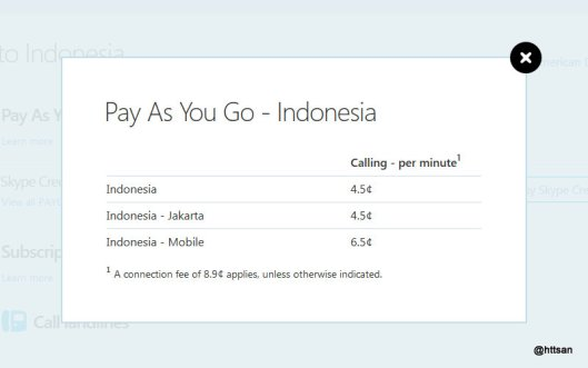 Tarif Telepon ke Indonesia via Skype.